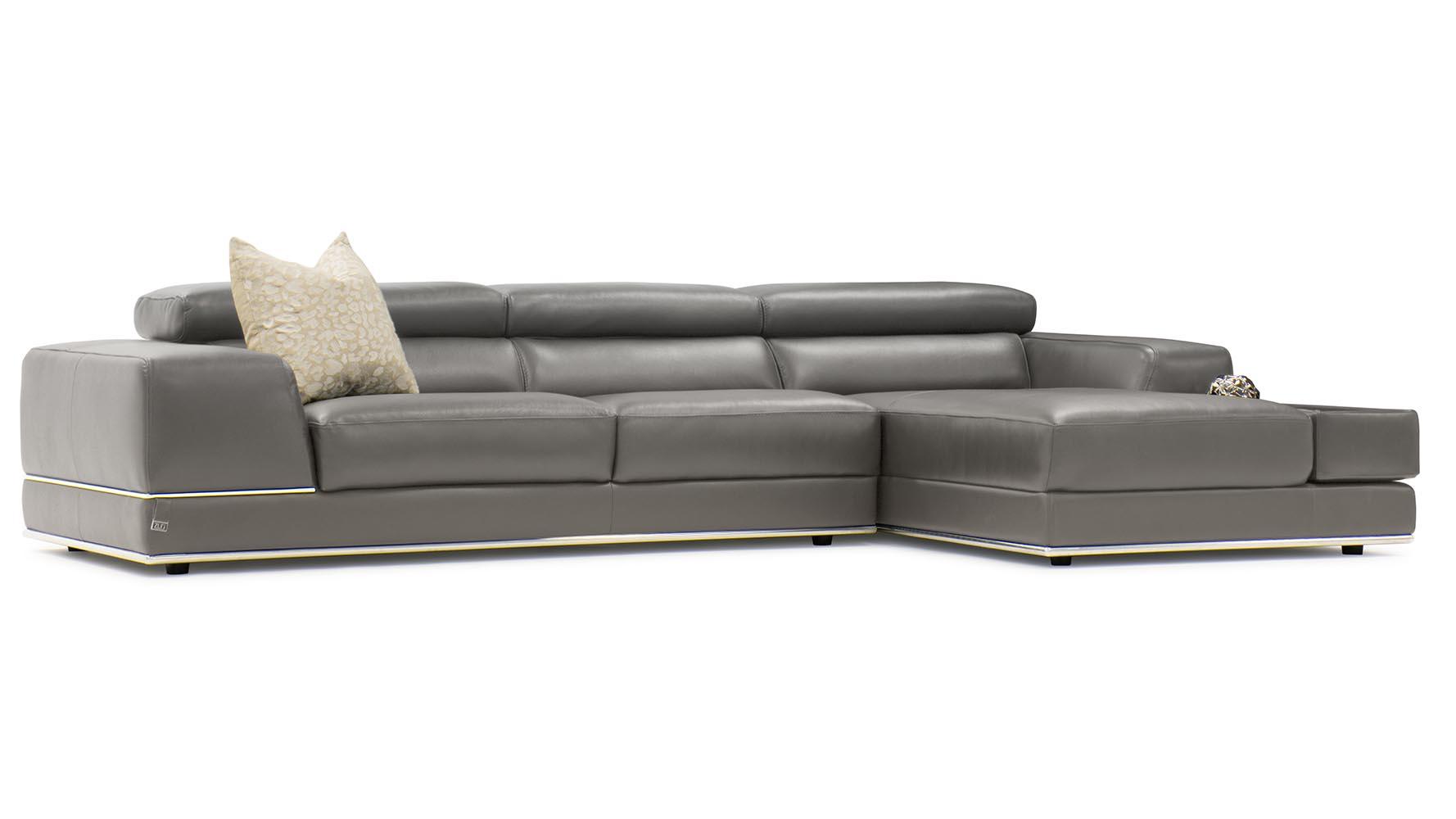 Encore Slate Leather Sectional Sofa Zuri Furniture