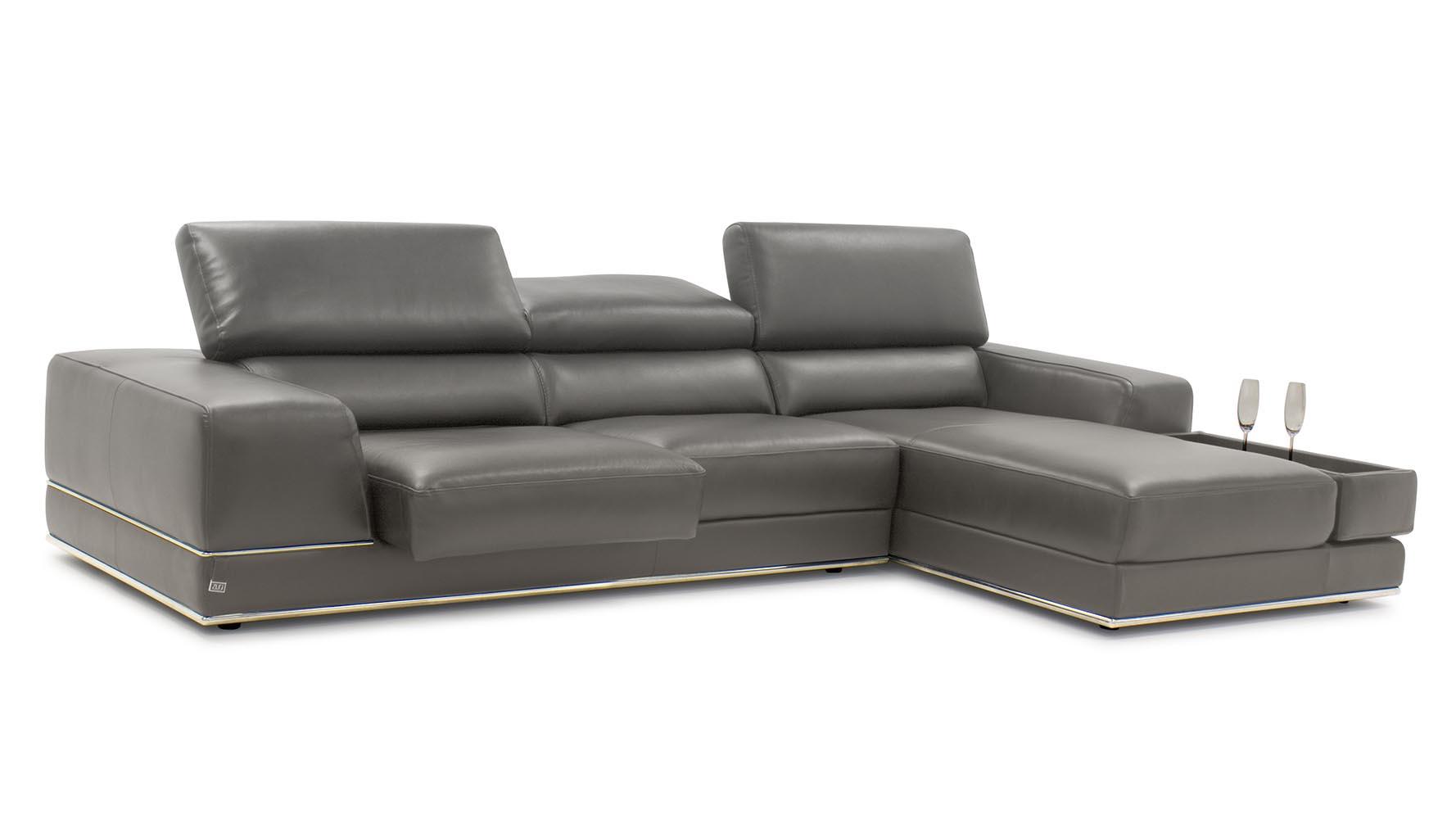 Encore slate leather sofa zuri furniture for Ashley encore grain chaise