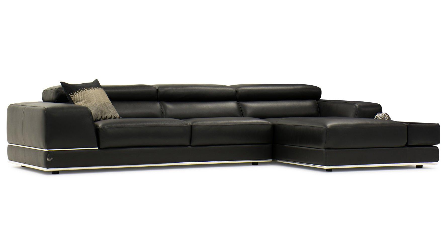 Encore black leather sofa zuri furniture for Ashley encore grain chaise