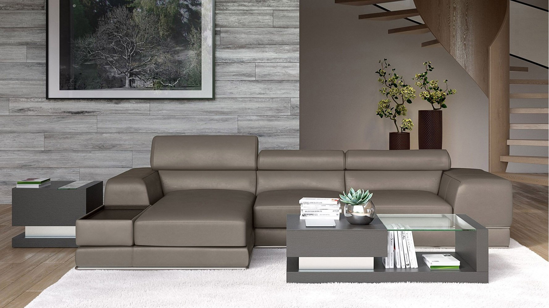 Encore Slate Leather Sectional Sofa Zuri Furniture