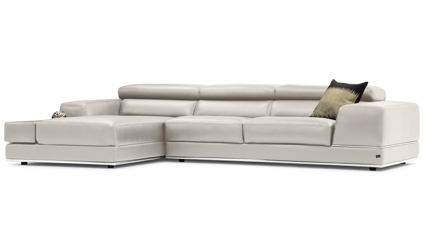 Encore light grey leather sofa zuri furniture for Ashley encore grain chaise