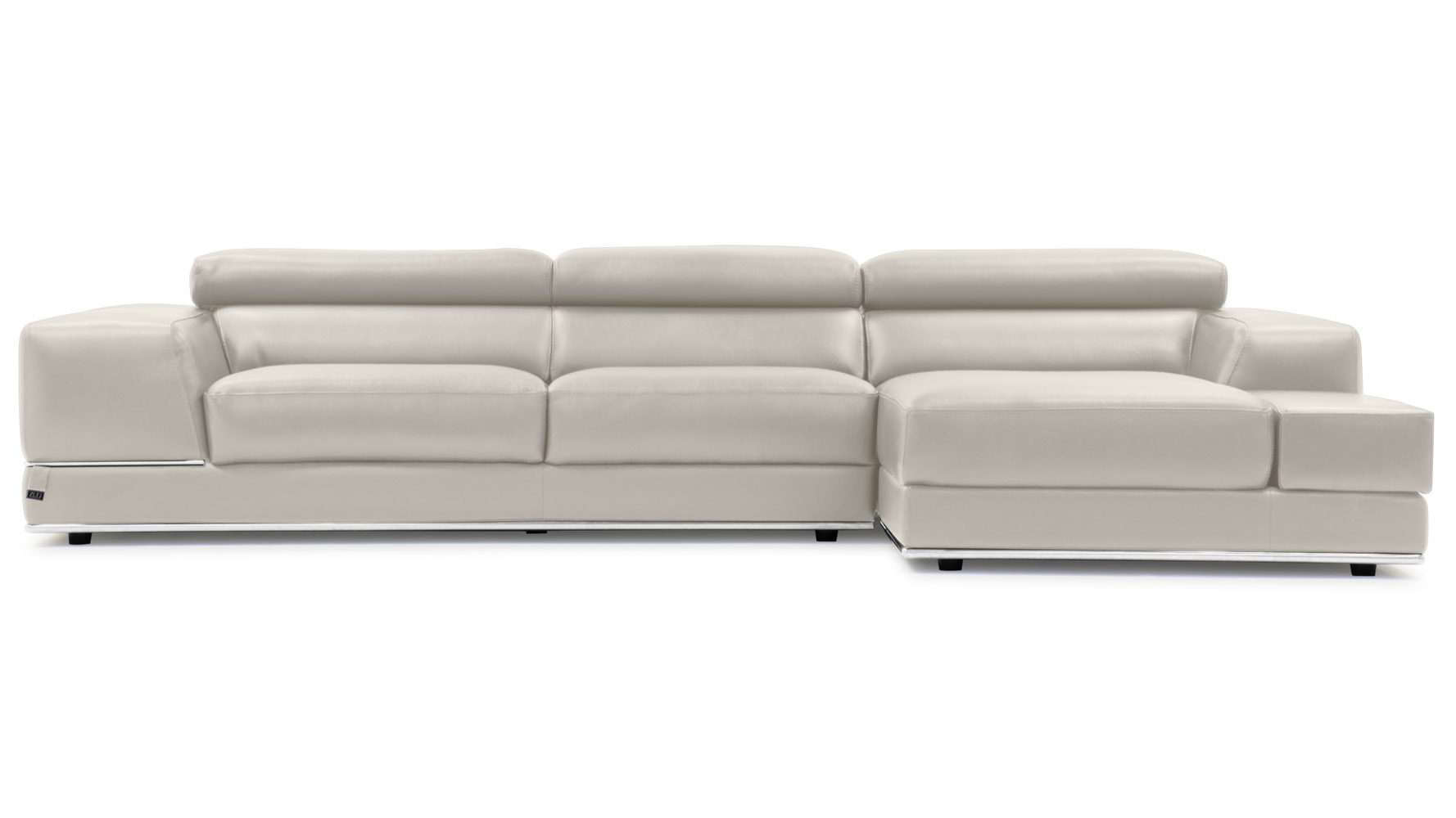 Encore Light Grey Leather Sectional Sofa Zuri Furniture