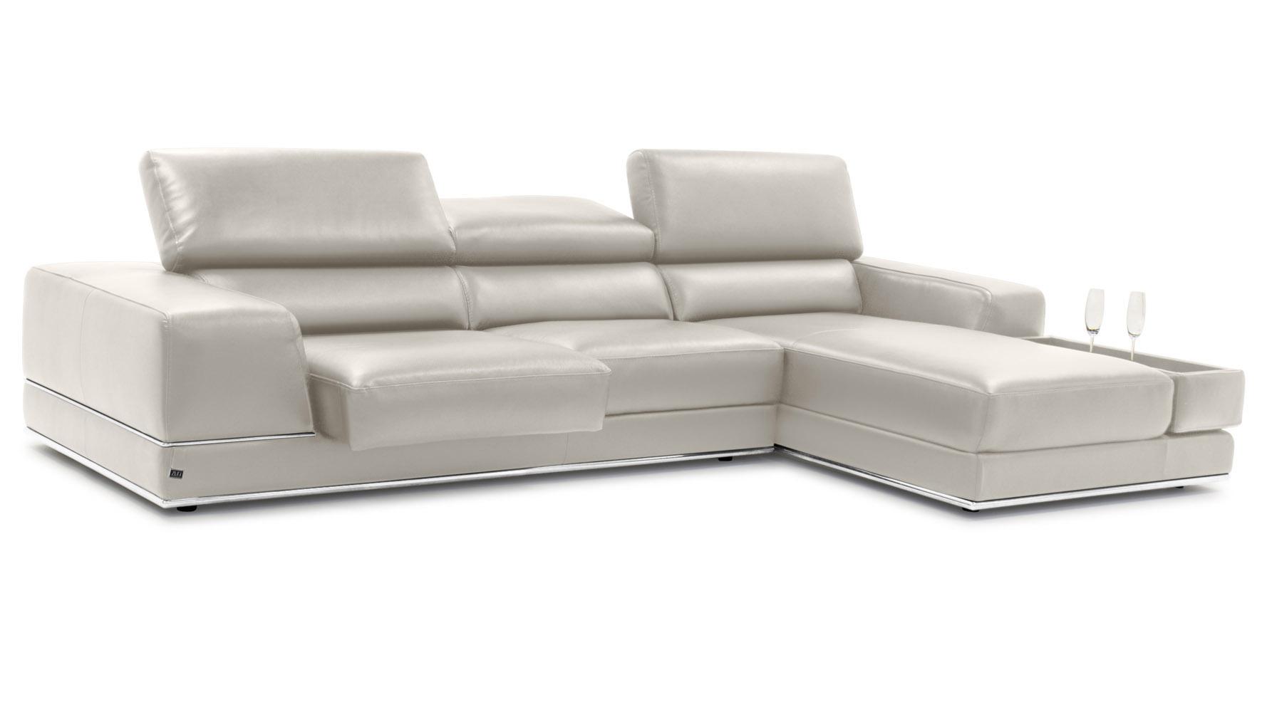 Encore Light Grey Leather Sectional Sofa Zuri Furniture