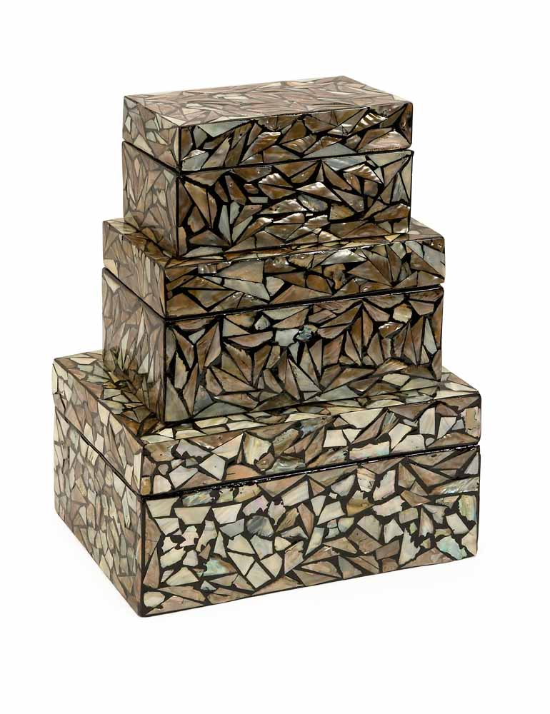 Neal Mother Of Pearl Boxes Set Of 3 Zuri Furniture