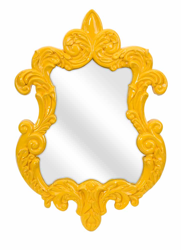 finely yellow baroque wall mirror zuri furniture