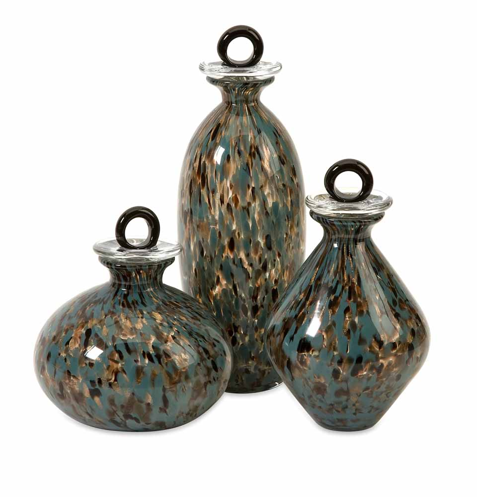 Harwick glass bottles set of 3 zuri furniture for Decorative vials