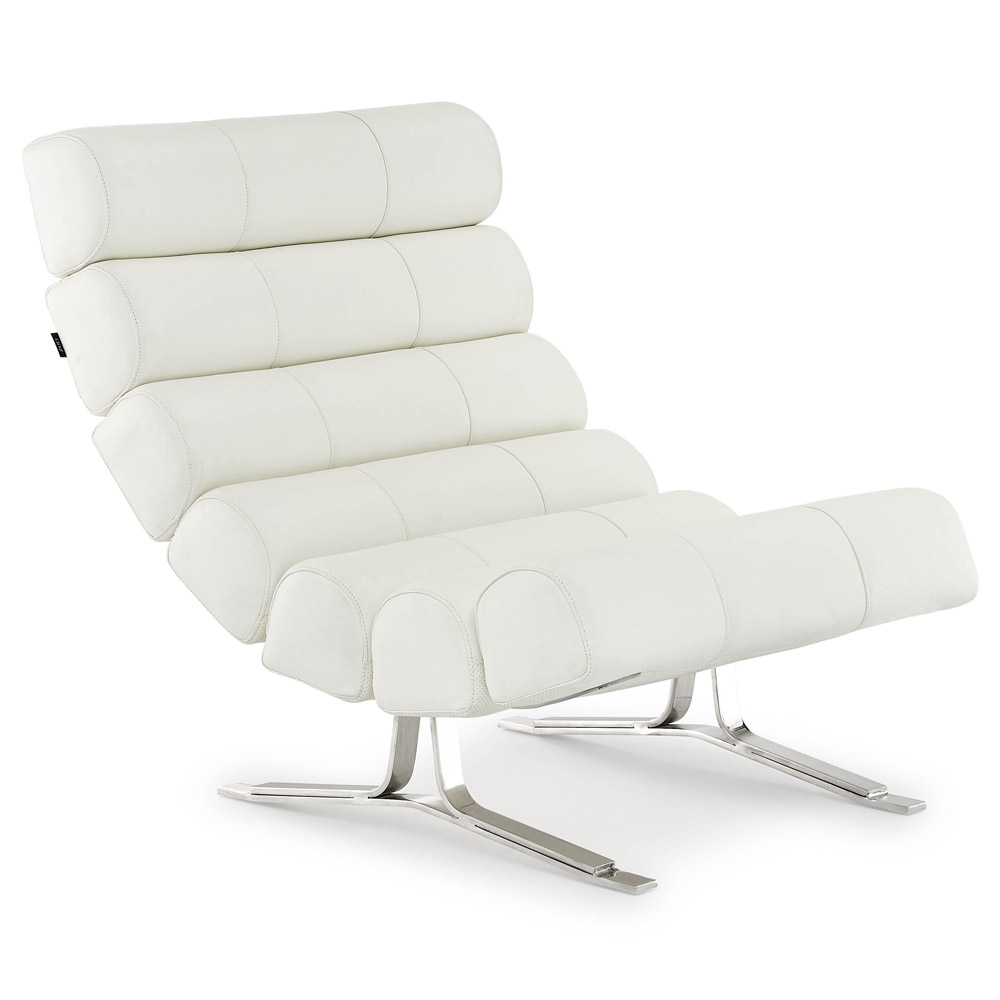 White Italian Leather Lounge Chair
