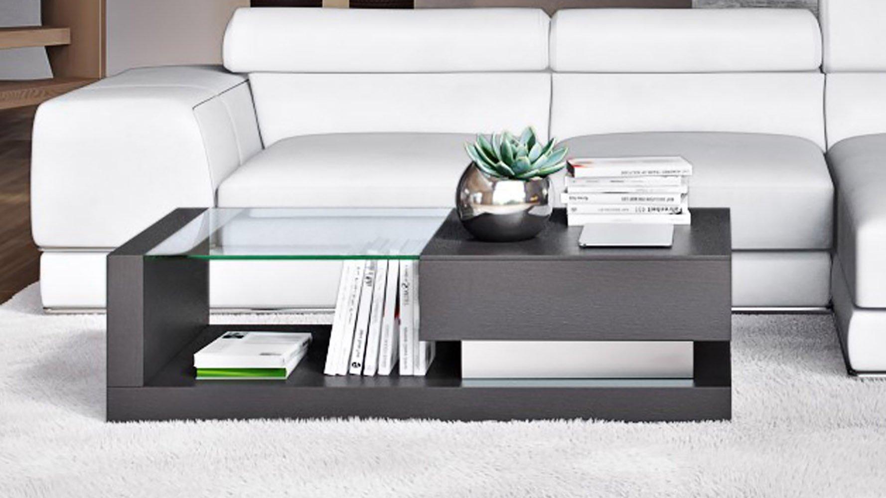 Etta Black Oak And Tempered Glass Coffee Table Zuri Furniture
