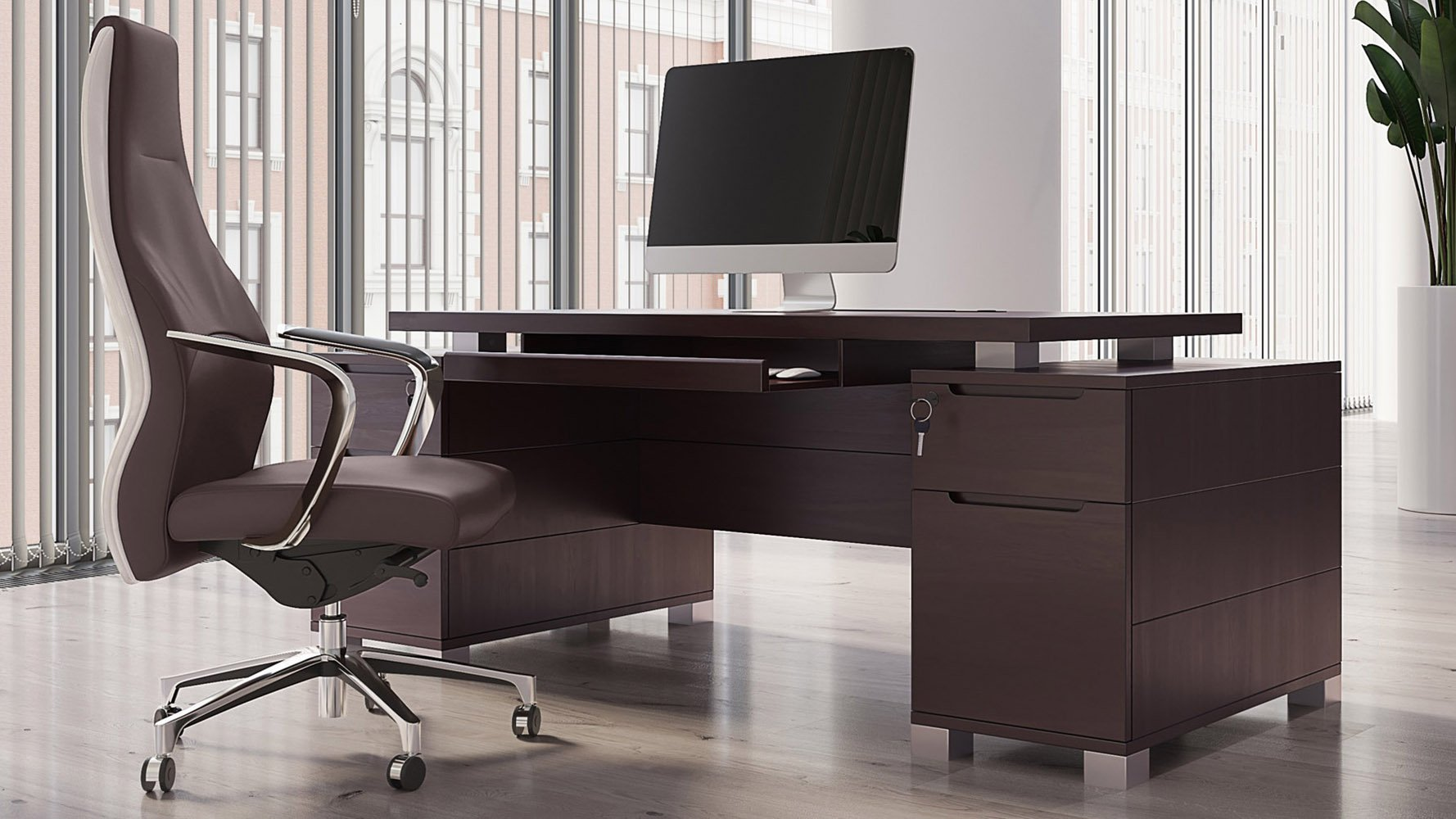 Ford Dark Wood Executive Desk Modern Contemporary Office Zuri Furniture