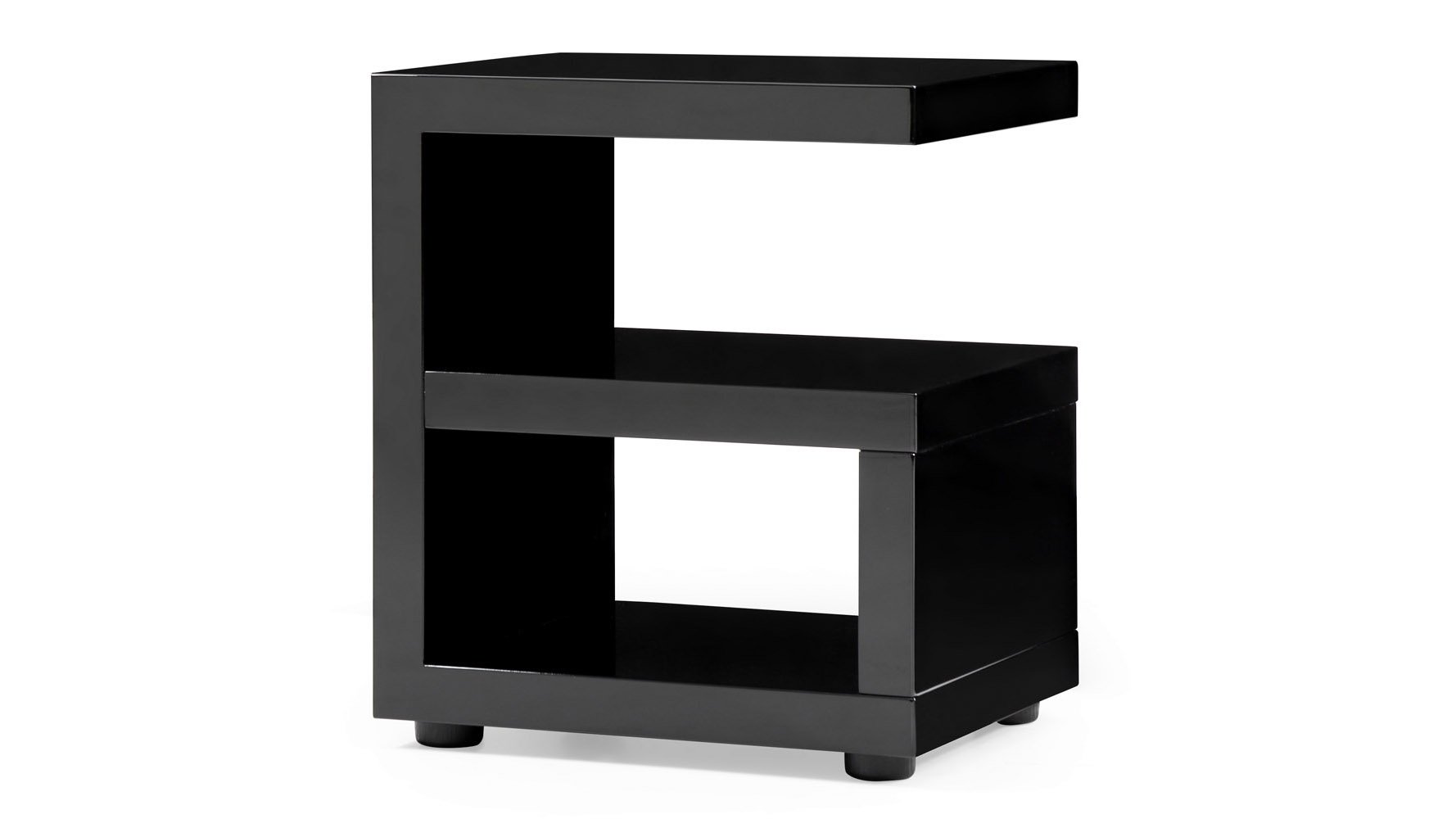 Jayden High Gloss Modern Side Table - Black