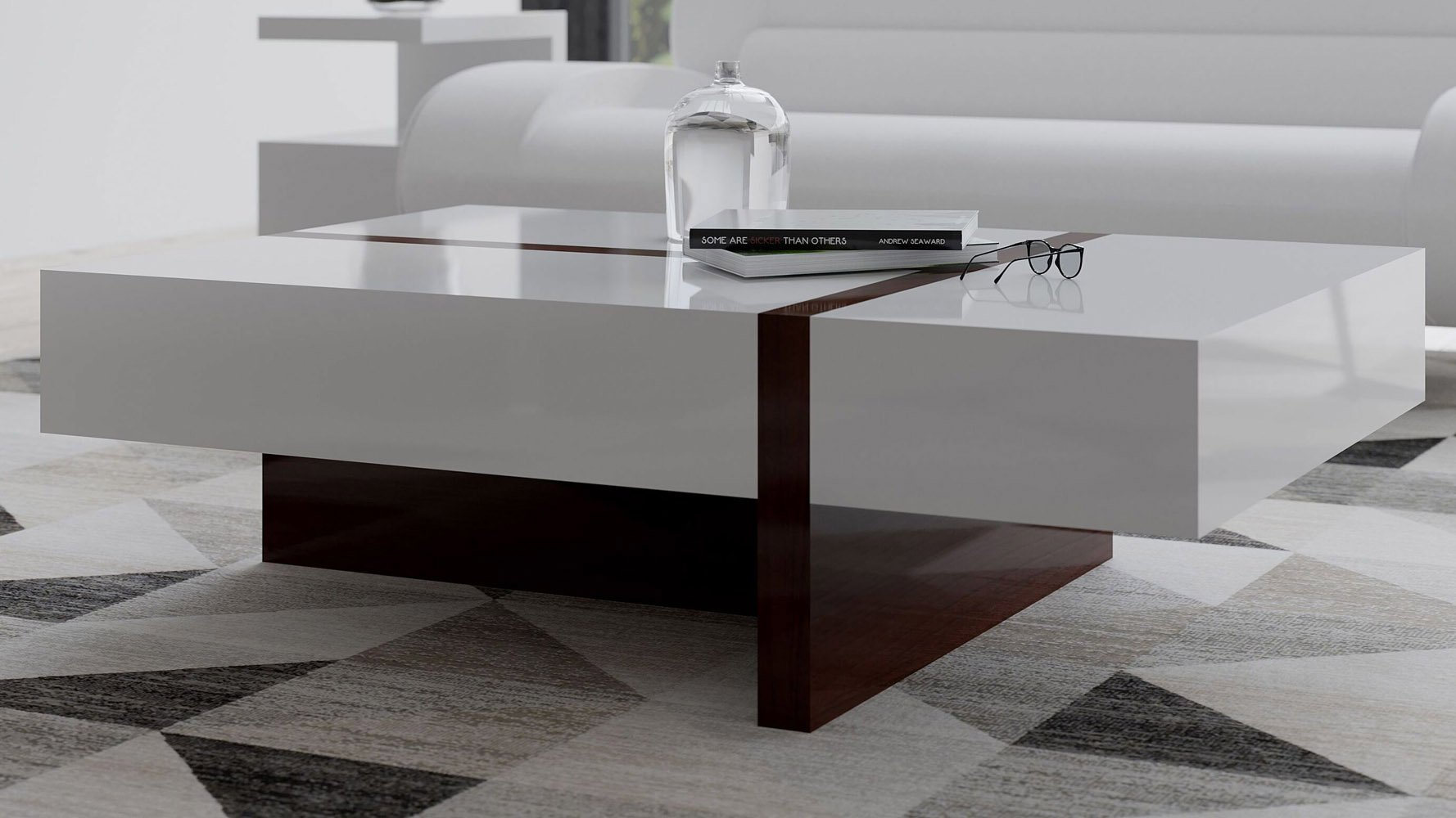 Mcintosh White Ebony Rectangle Coffee Table Lifestyle MAIN