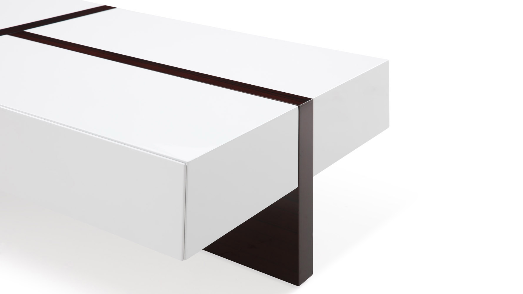 mcintosh rectangle coffee table with storage in white high gloss and ebony accents zuri furniture. Black Bedroom Furniture Sets. Home Design Ideas
