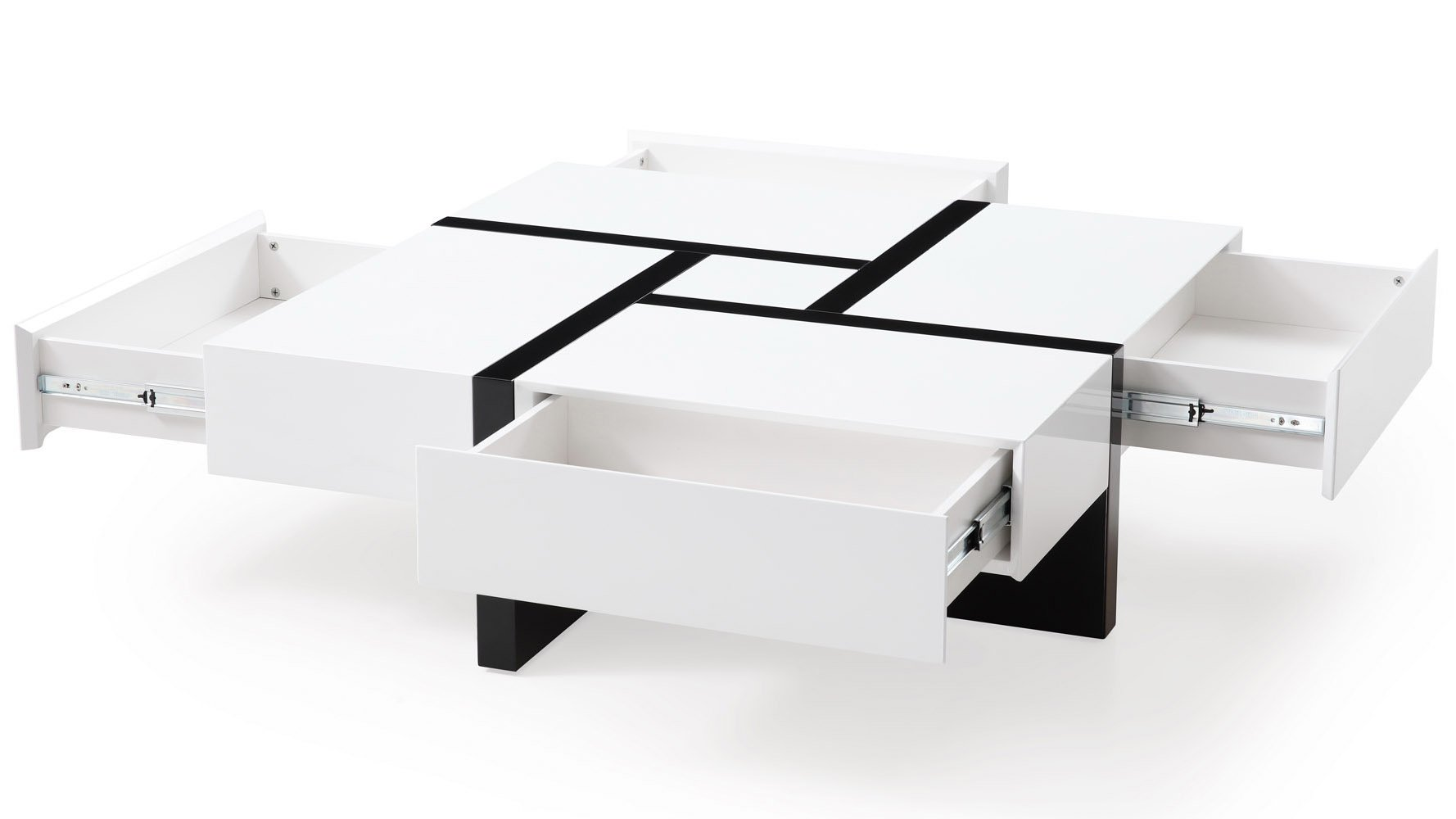 Mcintosh High Gloss Coffee Table With Storage White Square With