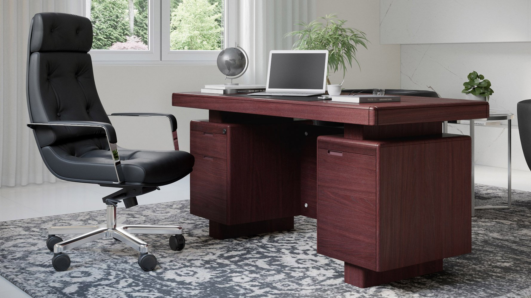 Monroe Mahogany Executive Desk Modern