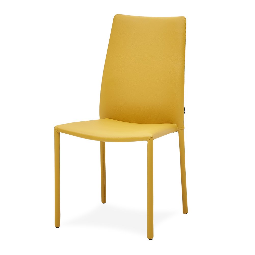 Noah Modern Yellow Microfiber Leather Dining Chair Zuri