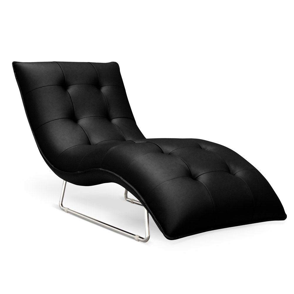 Ace leather chrome chaise lounge black zuri furniture for Black and white chaise lounge