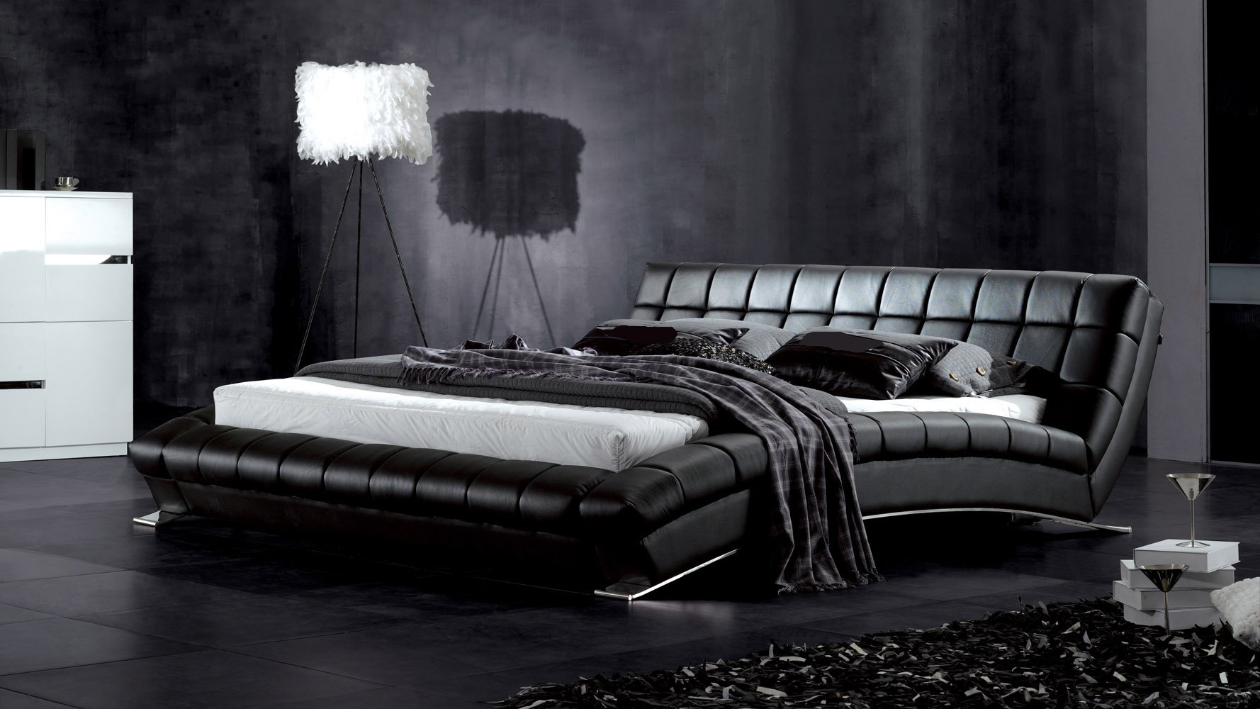 adonis black tufted leather platform bed  zuri furniture -
