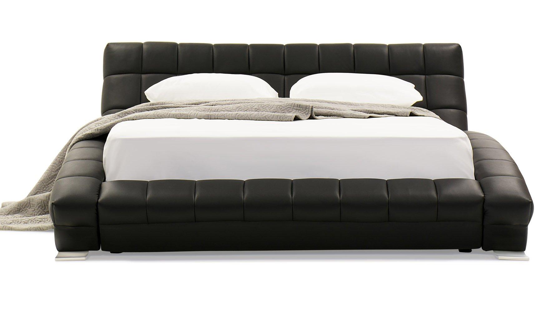 Adonis Black Tufted Leather Platform Bed Zuri Furniture