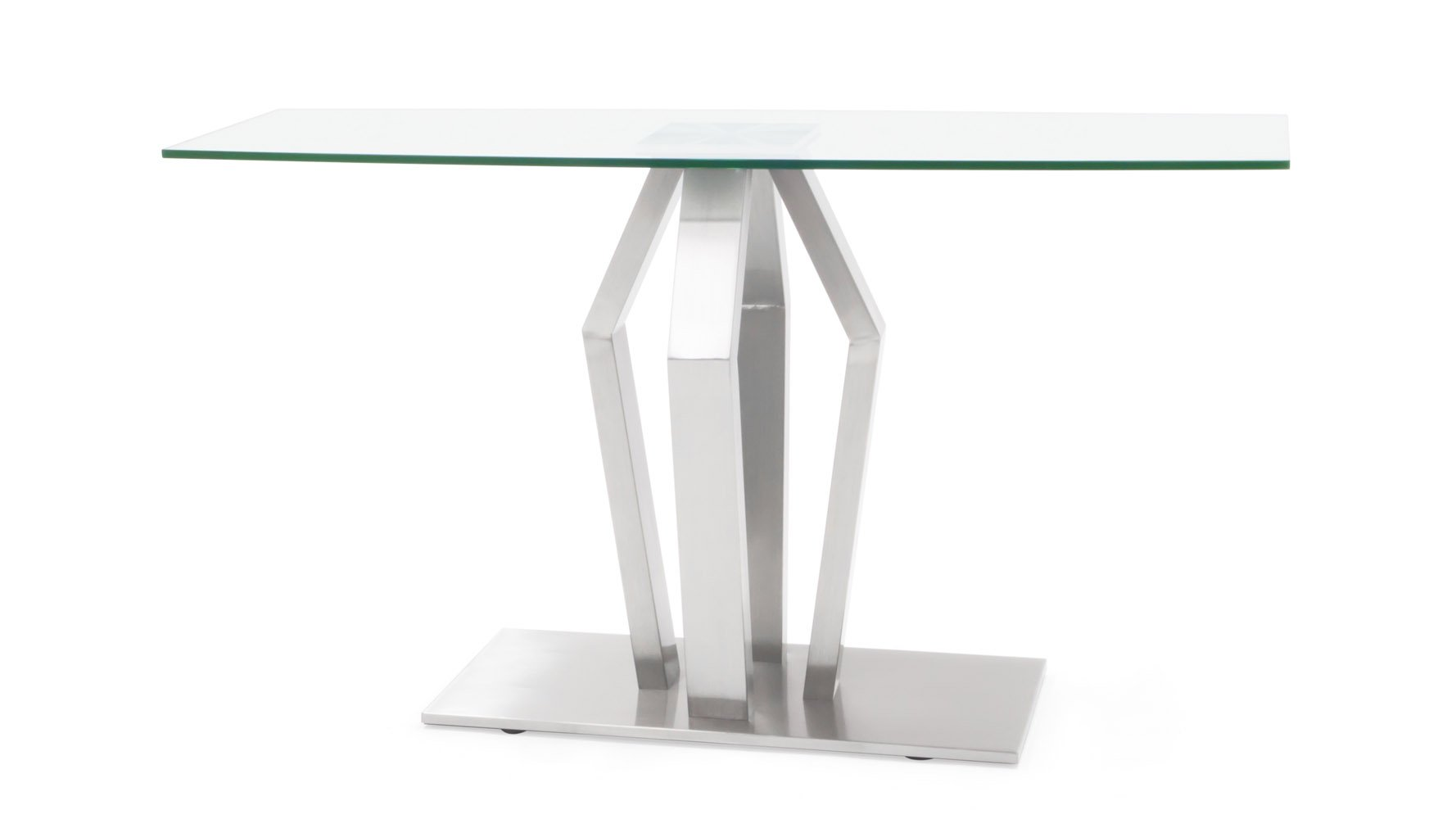 Tempered Glass And Brushed Stainless Steel Aiden Console Table | Zuri  Furniture