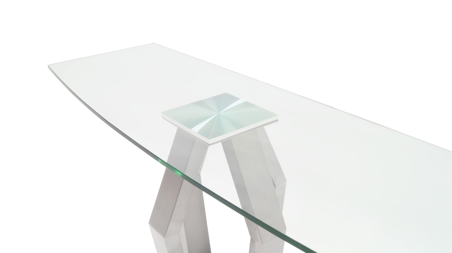Tempered Glass and Brushed Stainless Steel Aiden Console Table