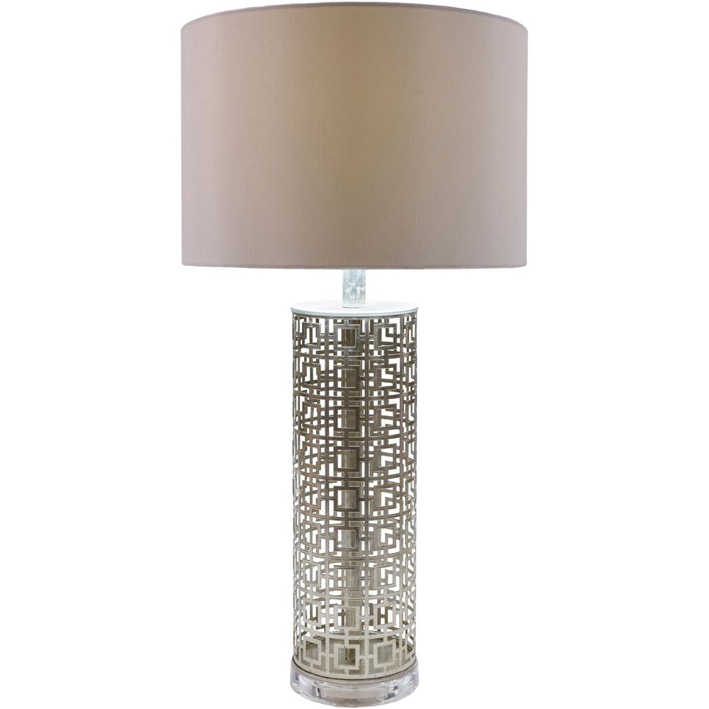 Alainn metal base and faux silk shade table lamp zuri furniture alainn table lamp geotapseo Choice Image