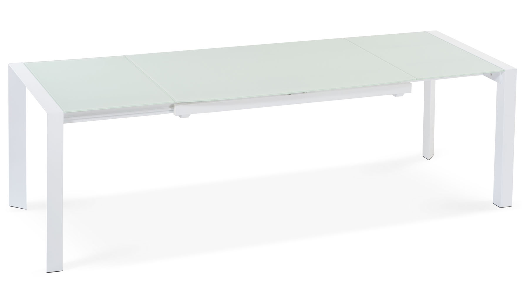 Alton extending modern dining table with white glass top for Best extendable dining table