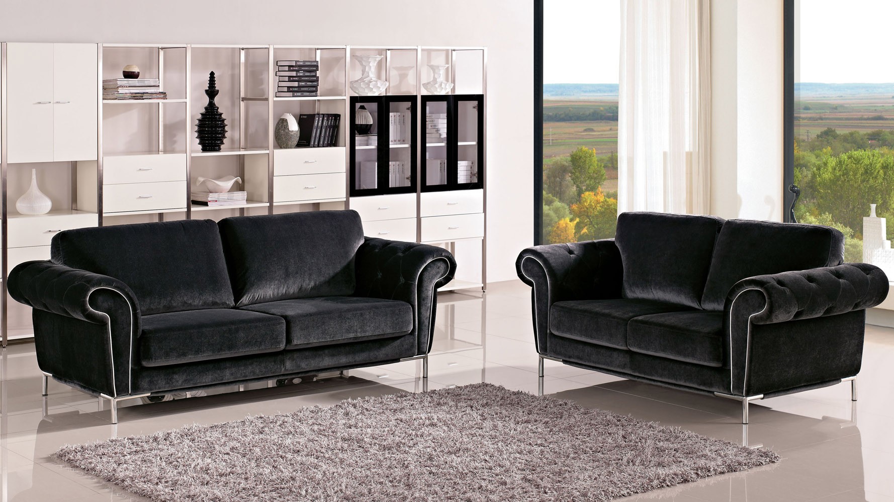. charcoal amora sofa set with armchair  zuri furniture