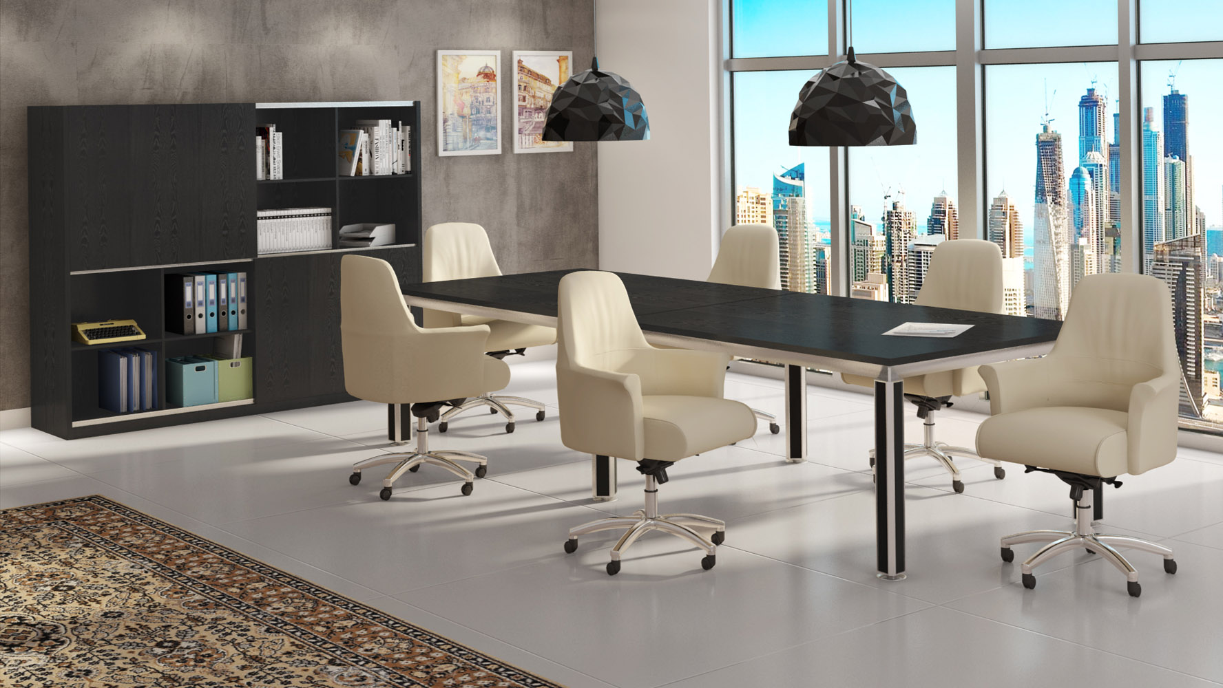 Andrew black oak conference table with accented chrome for Modern office furniture