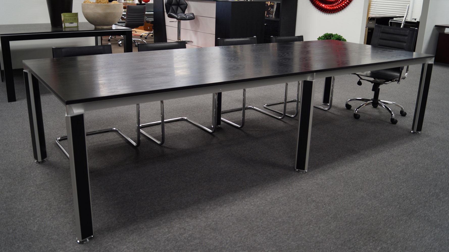 Andrew Black Oak Conference Table with Accented Chrome  : andrewconferencetable1 from www.zurifurniture.com size 1778 x 1000 jpeg 278kB