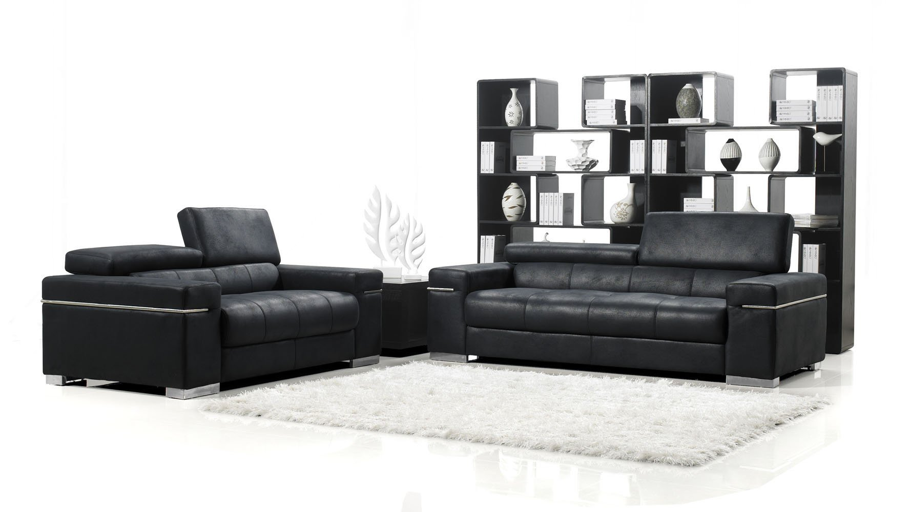 Black Angelo Suede Sofa With Loveseat | Zuri Furniture