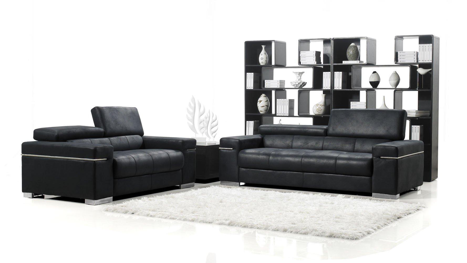 Black Angelo Suede Sofa With Loveseat Zuri Furniture