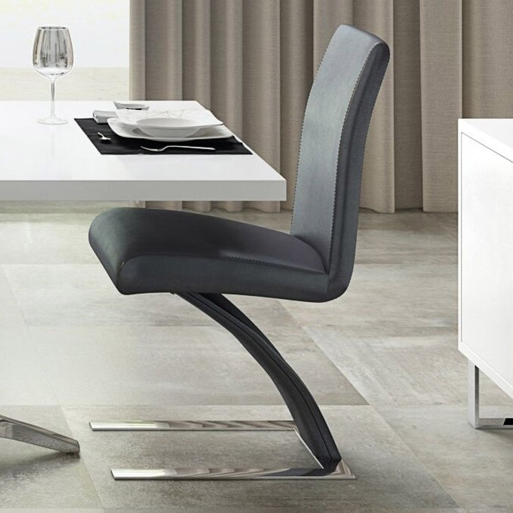 Mesa Modern Dining Chair Dark Grey Microfiber Leather And Chrome