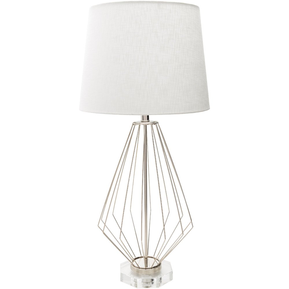 Argia Stainless Steel Base And Linen Shade Table Lamp