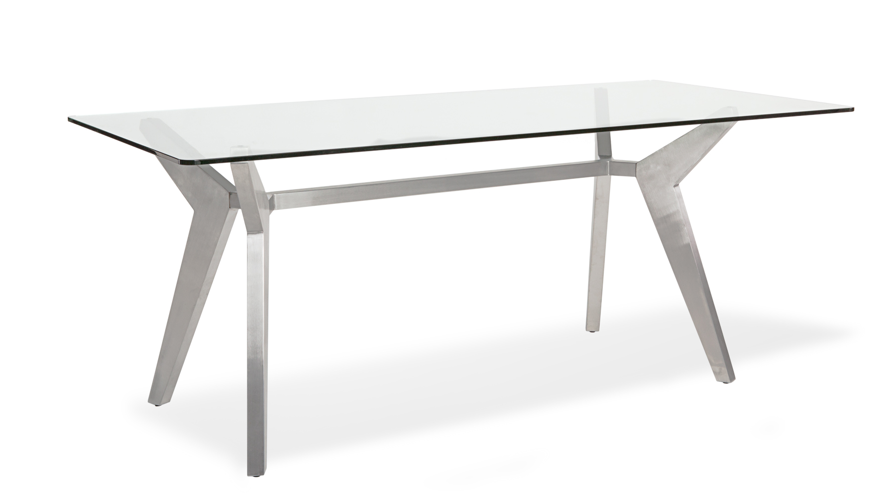 Argo Glass Dining Table with Brushed Metal Base