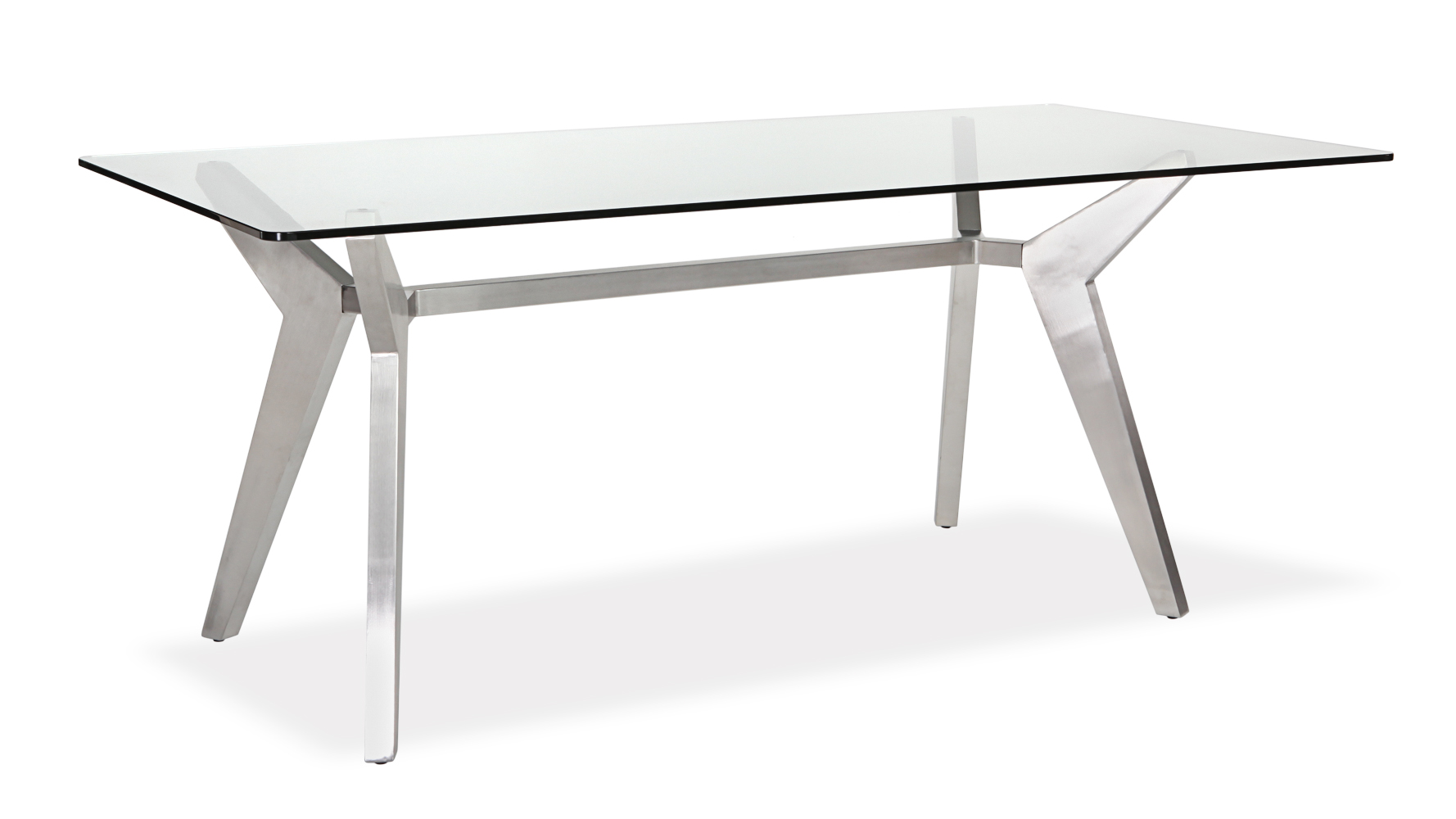 Metal Glass Dining Table Argo Glass Dining Table With Brushed Metal Base Zuri Furniture