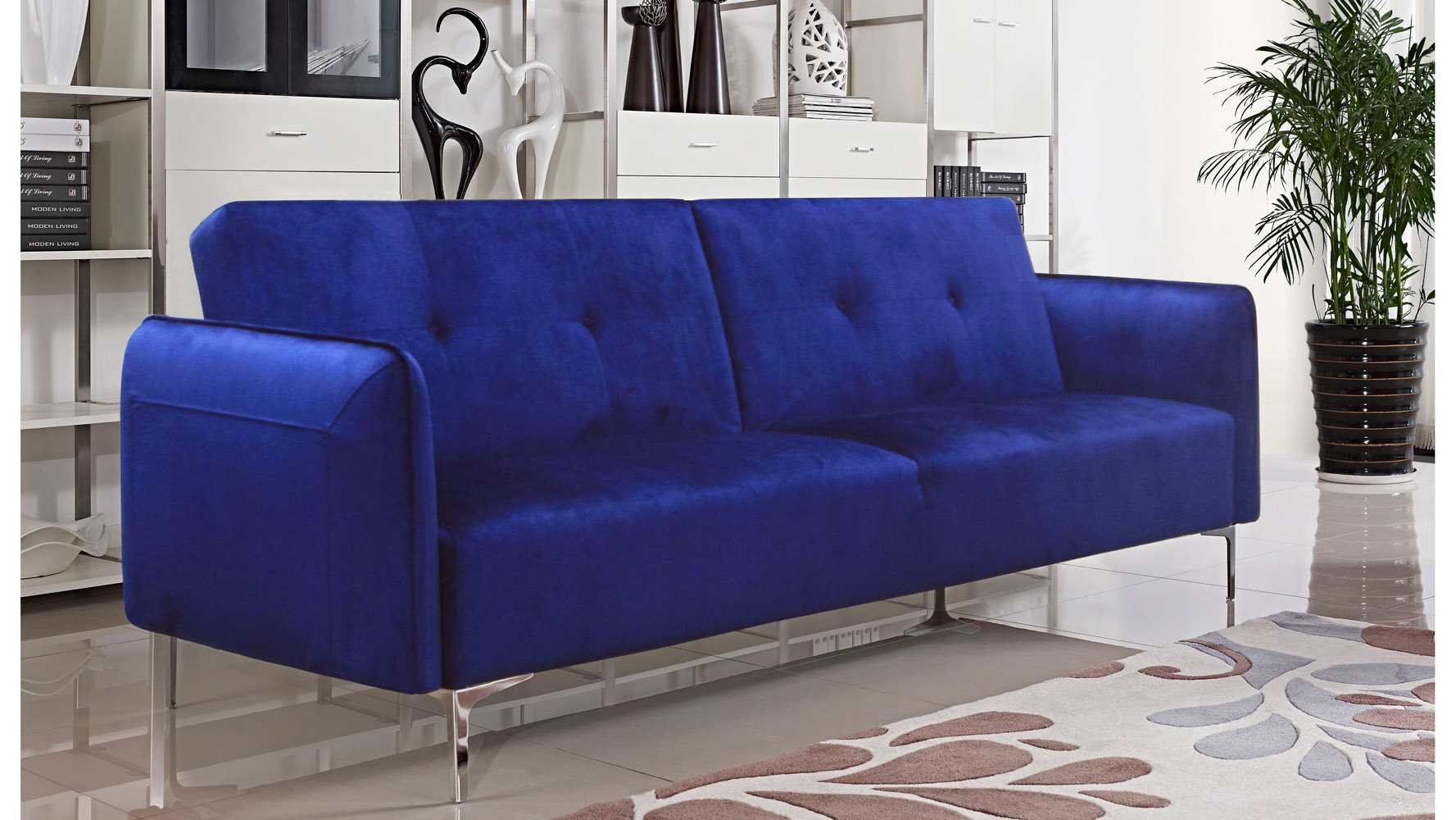Arie Tufted Fabric Sofa Bed With Chrome Legs   Cobalt Blue | Zuri Furniture