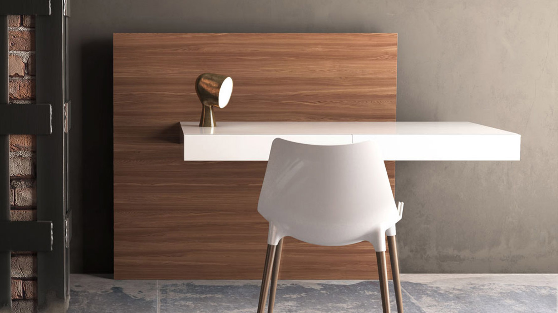 Arya Wall Mounted Desk White Lacquer On Walnut Back