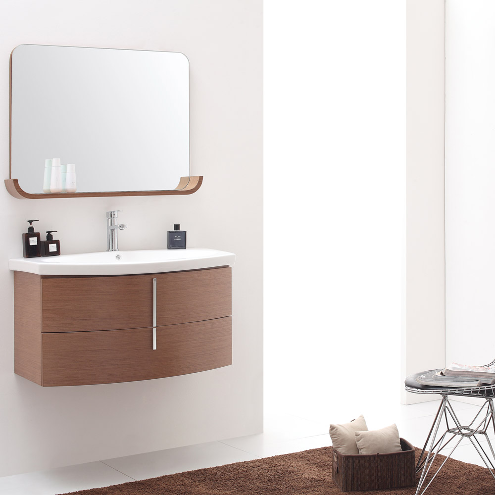 Siena chestnut wood finish bathroom mirror with shelf - Wooden bathroom mirror with shelf ...