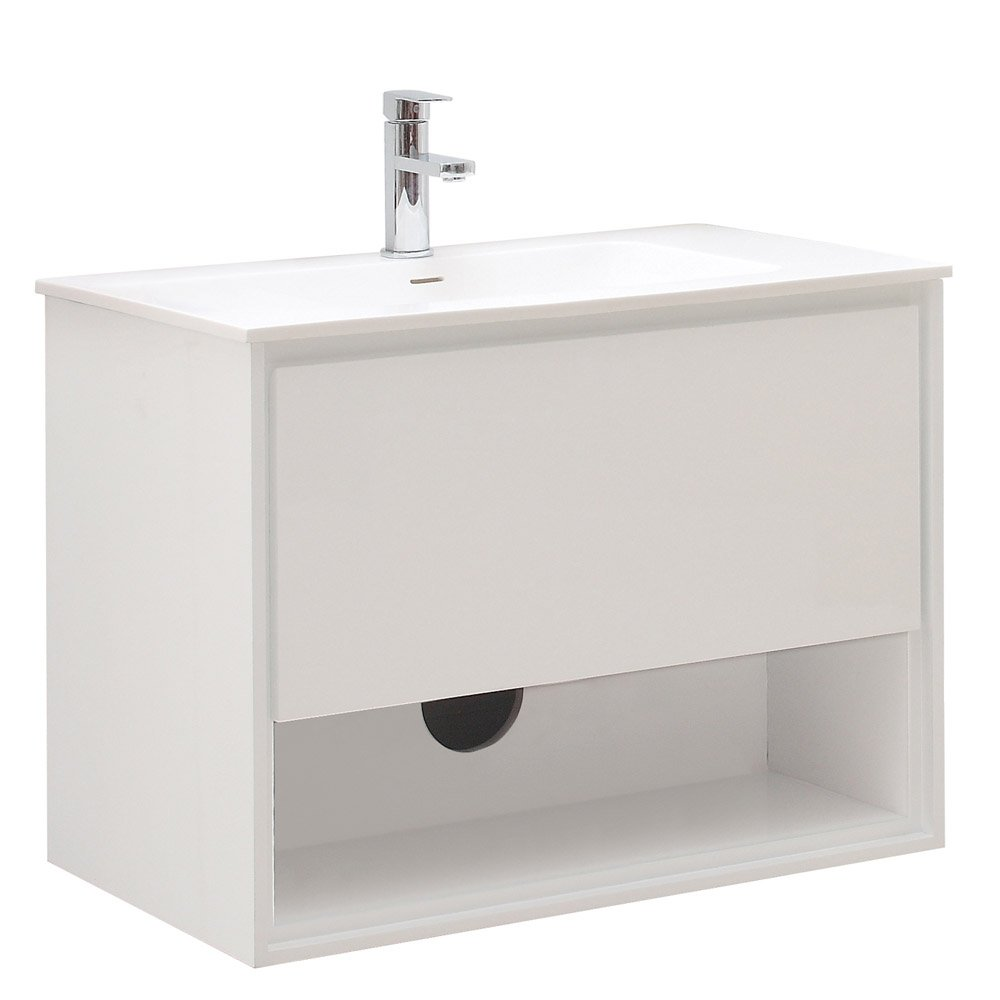 sonoma glossy white bathroom vanity set with white 21479