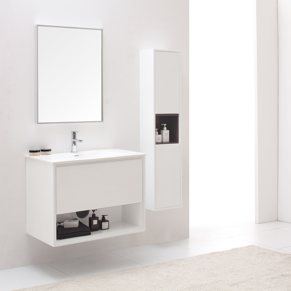 Sonoma Glossy White Bathroom Vanity Set With White Stone Top Zuri