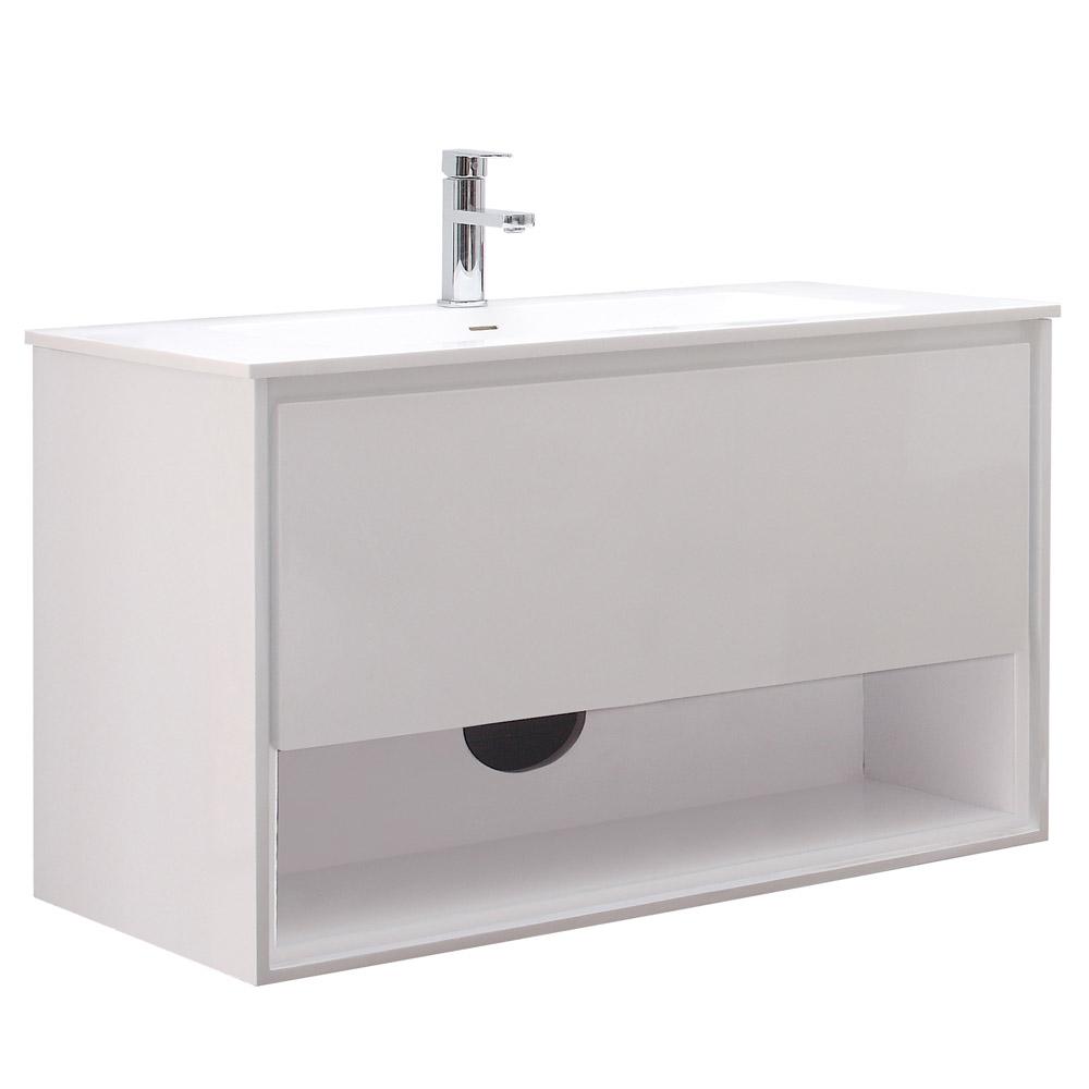 Sonoma Glossy White Bathroom Vanity Set With White Stone
