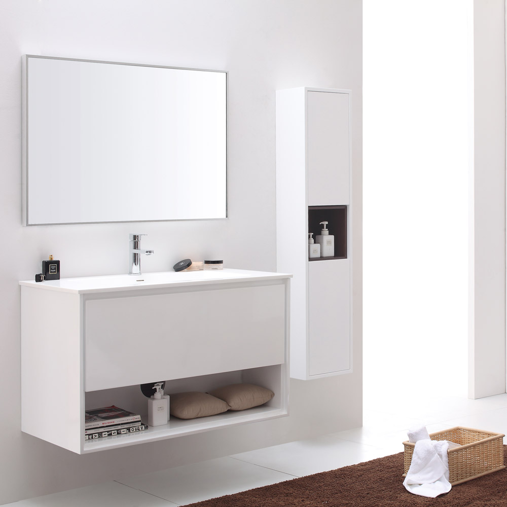Sonoma glossy white bathroom vanity set with white stone for Bath and vanity set