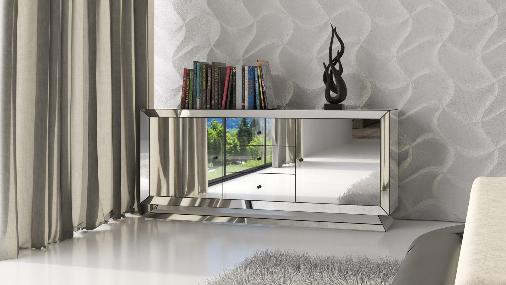 Azul Mirrored Glass Dresser Zuri Furniture