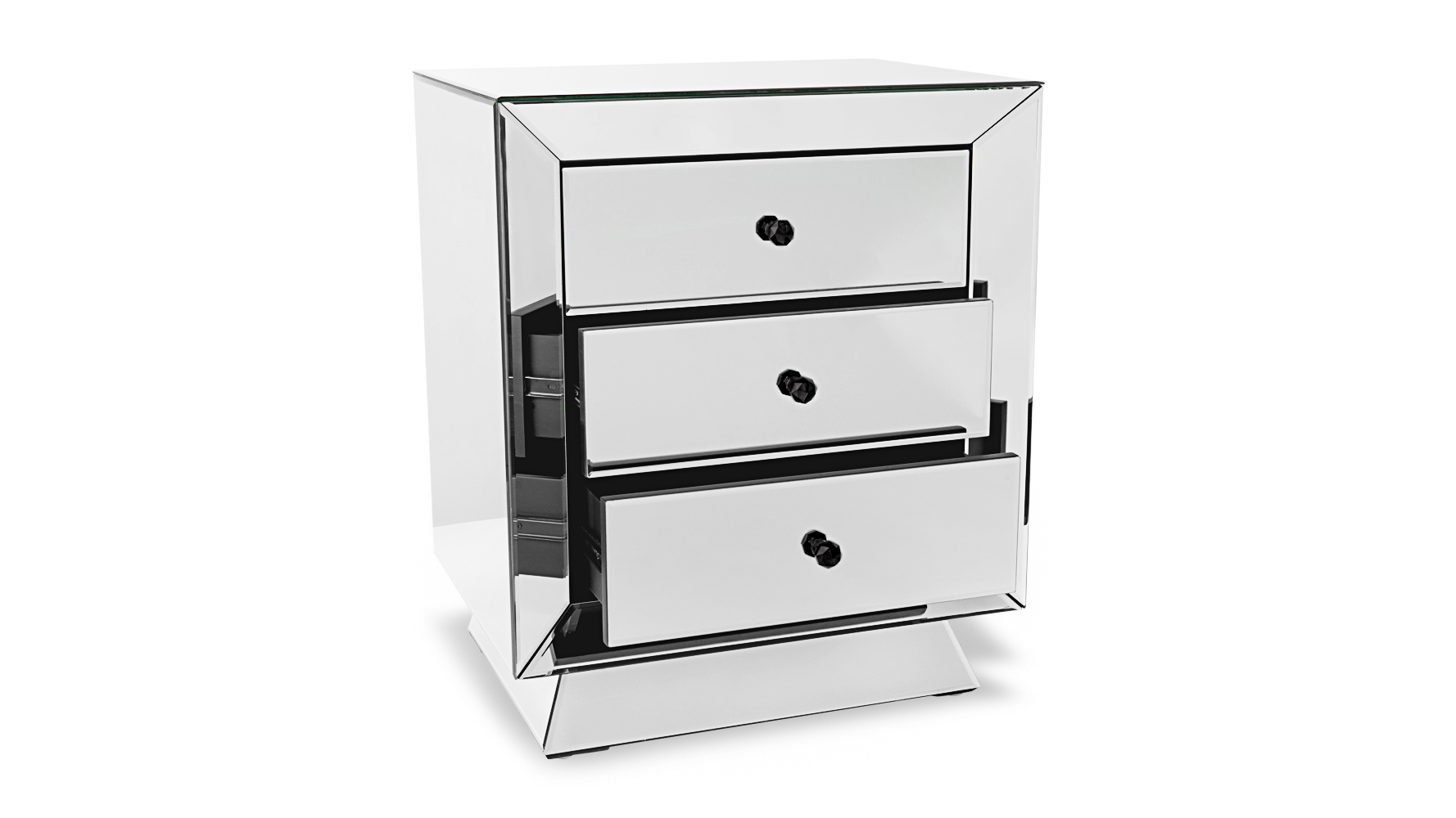 Azul Fully Mirrored Modern Night Stand : Zuri Furniture