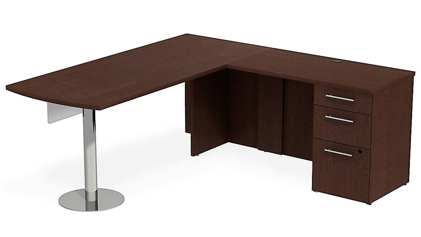 Bbf realize peninsula desk in l configuration glass for Home office configurations