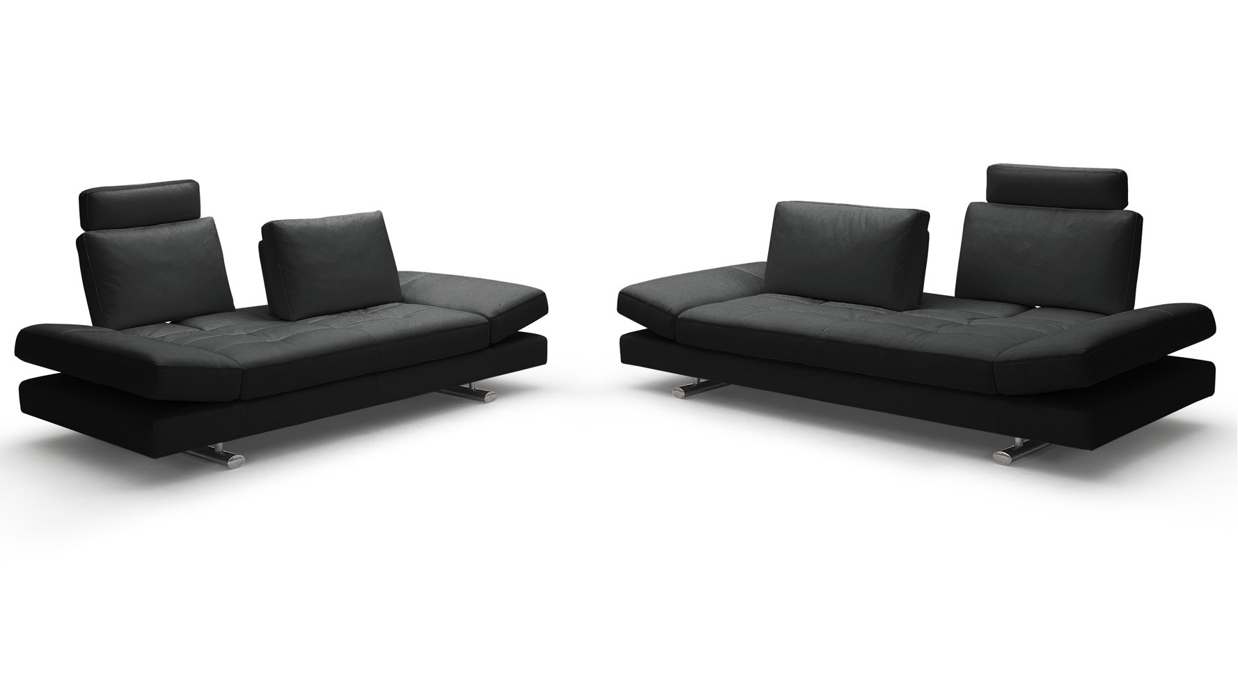 Bentley Black Top Grain Leather Modern Sofa Set With