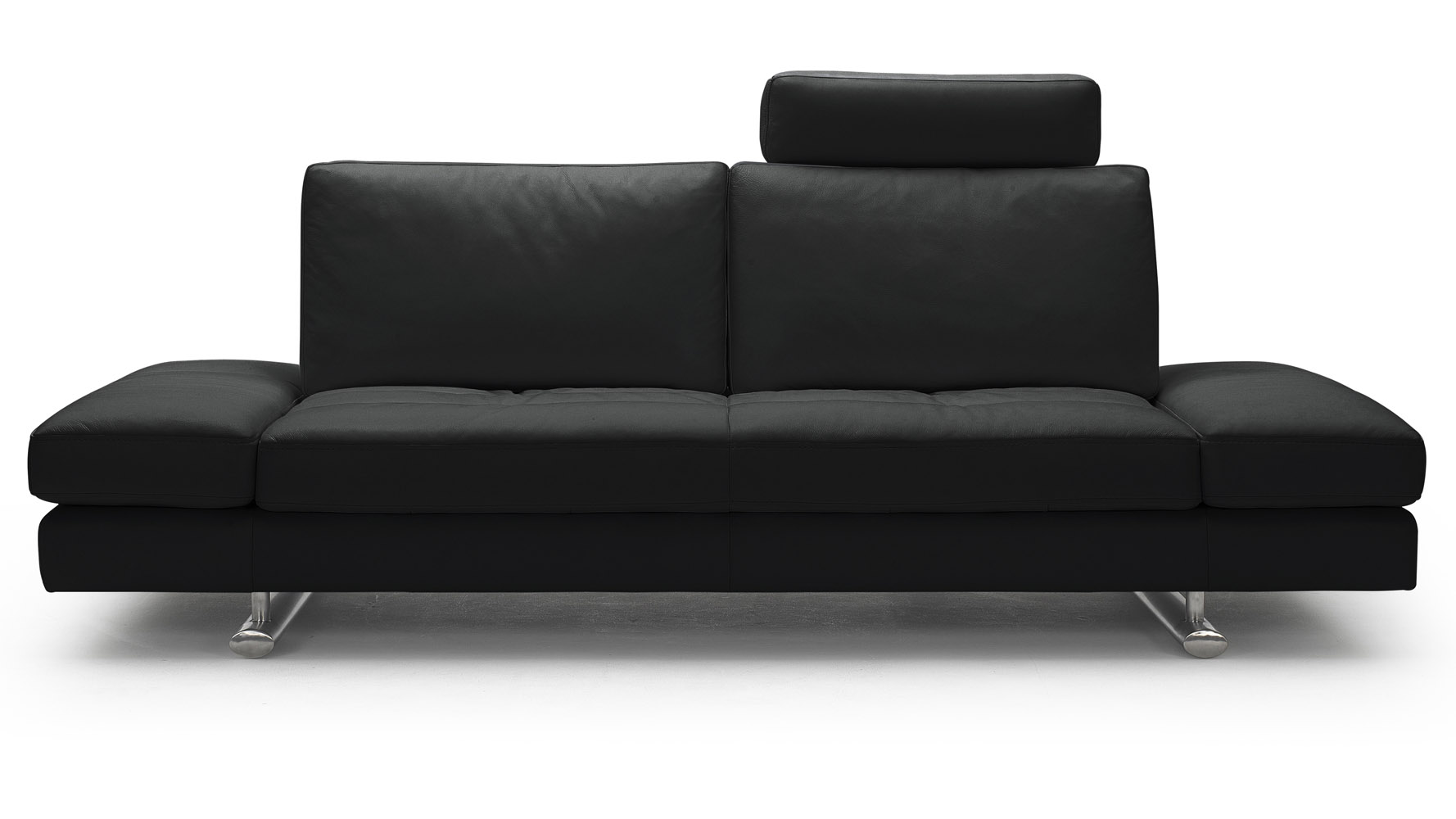 Bentley Black Top Grain Leather Modern Sofa Set With Loveseat | Zuri ...