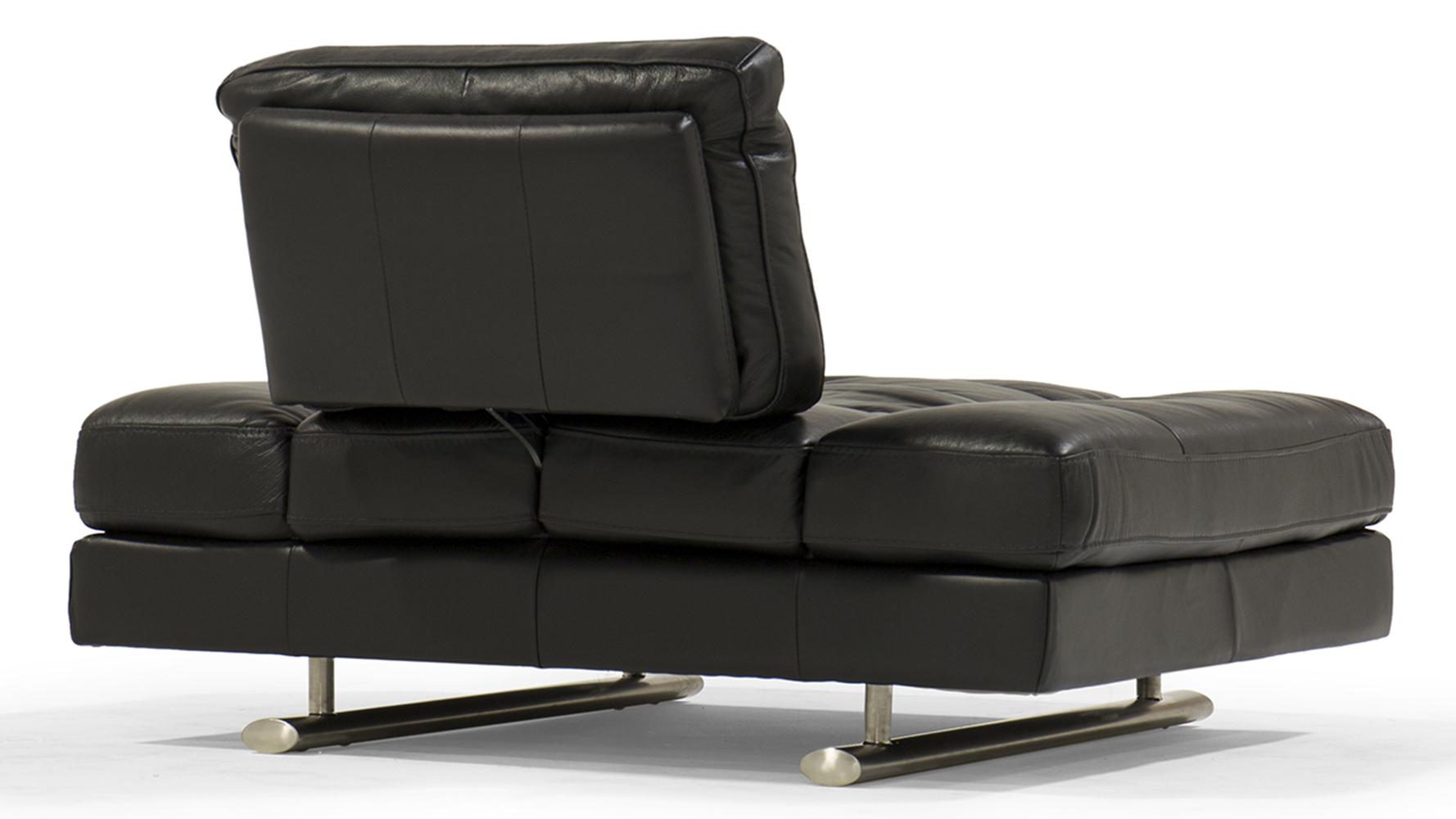 Bentley Black Top Grain Leather Modern Lounge Chair Zuri