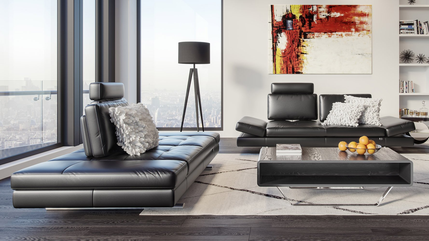 Image of: Bentley Black Top Grain Leather Modern Sofa Set With Loveseat Zuri Furniture