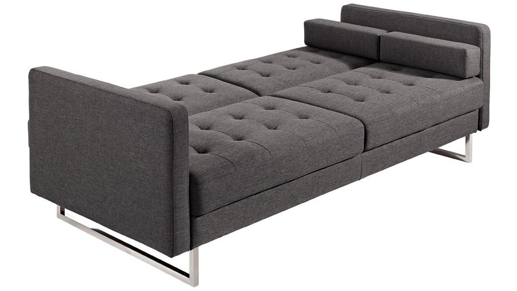 Beta Fabric Sofa Bed With Polished Steel Legs Charcoal Zuri Furniture